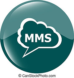 mms blue circle glossy web icon on white background