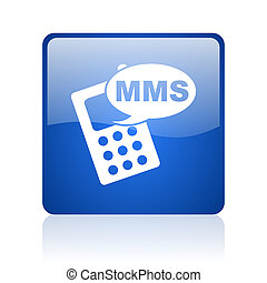 mms blue square glossy web icon on white background