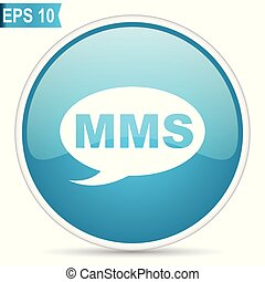 Mms blue vector icon