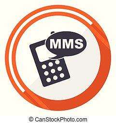 Mms flat design vector web icon. Round orange internet button isolated on white background.