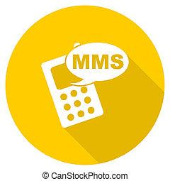 mms flat design yellow web icon