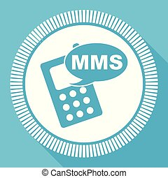 Mms flat vector icon, mobile phone square blue web button