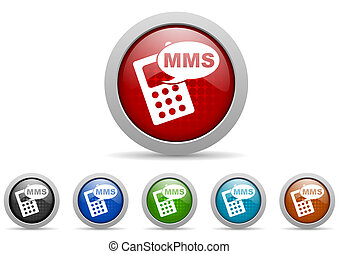 mms, glanzend, web beelden, set, op wit, achtergrond