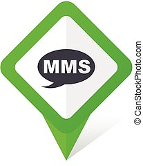Mms green square pointer vector icon in eps 10 on white...