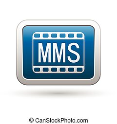 MMS icon on the blue with silver rectangular button. Vector...