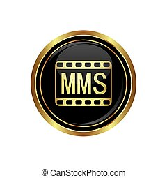 mms icon on the black with gold round button. Vector...