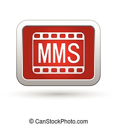 MMS icon on the red with silver rectangular button. Vector...