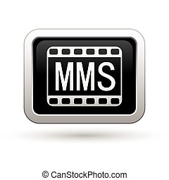 MMS icon on the rectangular button. Vector illustration