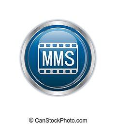 MMS icon on the rectangular button. Vector illustration