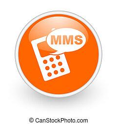 mms orange circle glossy web icon on white background