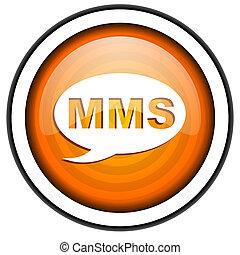 mms orange glossy icon isolated on white background