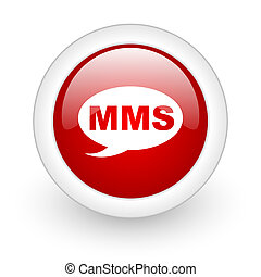 mms red circle glossy web icon on white background