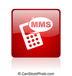 mms red square glossy web icon on white background