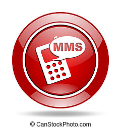 mms red web glossy round icon