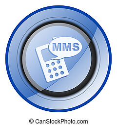 Mms round blue glossy web design icon isolated on white background