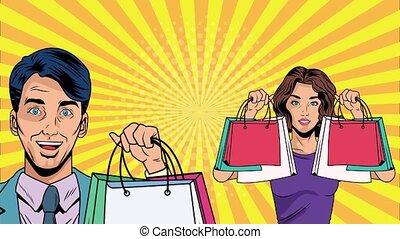 mnóstwo, hukiem, para, handlowy, ożywienie, sztuka, zakupy