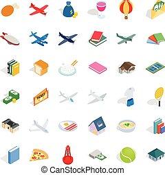 mnóstwo, ikony, komplet, isometric, styl