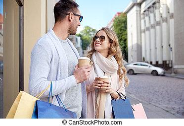 mnóstwo, kawa, zakupy, miasto, para, szczęśliwy