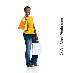 mnóstwo, kobieta shopping, ba, młody, amerykanka, afrykanin, biały