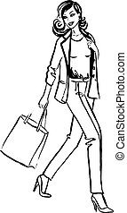 mnóstwo, kobieta shopping