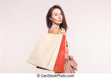 mnóstwo, kobieta shopping, młody, asian, tło, portret, poważny, biały