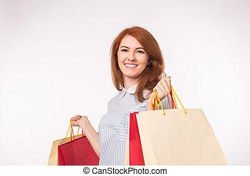 mnóstwo, kobieta shopping, miedzianowłosy, młody, tło, portret, biały, szczęśliwy