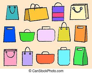 mnóstwo, komplet, podróż, icons., bagaż, temat, wektor, różny, zbiór, ikona
