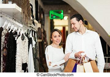 mnóstwo, para, zakupy, butik