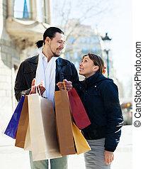 mnóstwo, para, zakupy