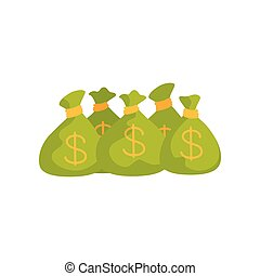 mnóstwo, pełny, finansowy, płaski, pieniądze., dolar, theme., piątka, bankowość, wektor, projektować, znaki, zielony