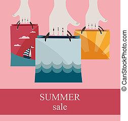 mnóstwo, zakupy, lato, sprzedaż, sales., dzierżawa wręcza, promować