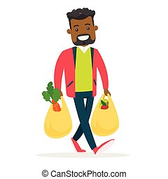 mnóstwo, zakupy, młody, groceries., dzierżawa, człowiek