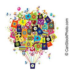 mnóstwo, zakupy, pojęcie, balloon, powietrze, projektować, twój