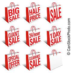 mnóstwo, zakupy, sprzedaż, torba, nośnik, ikona