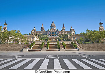 MNAC Museum located at Montjuic area in Barcelona, Spain