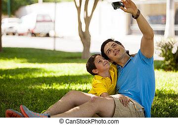 mnie, fotografia, wpływy, mój, syn