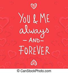 mnie, na zawsze, always, wizerunek, valentine, wektor, ty, dzień
