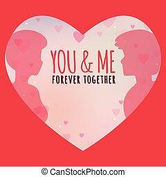 mnie, na zawsze, wizerunek, razem, valentine, wektor, ty, dzień