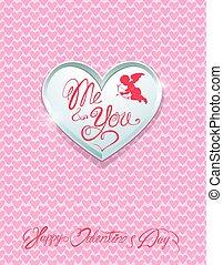 mnie, serce, ty, tło., metal, handwritten, valentine`s, calligraphic, teksty, różowy, karta, święto, dzień, srebro, szczęśliwy