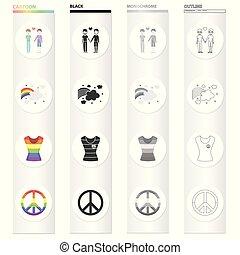 mniejszość, komplet, płeć, monochromia, płciowy, tęcza, styl, ikony, rysunek, czarnoskóry, pień, mniejszość, symbol, web., zbiór, ilustracja, tęcza, para, znak, geje, t-shirt, szkic, freedom., wektor