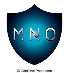 MNO alphabet font letters blue security shield symbol
