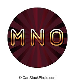MNO alphabet font letters blue security shield symbol red round emblem