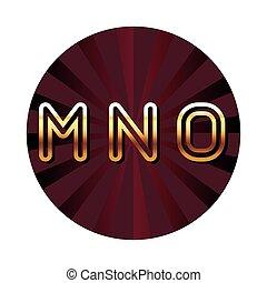 MNO alphabet font letters blue security shield symbol red round emblem