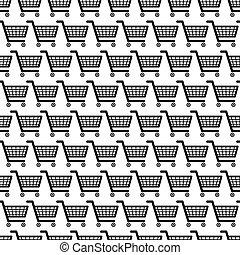 mnoho, o, čerň, shopping vozík, seamless, model