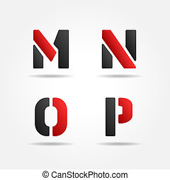 mnop red stencil letters