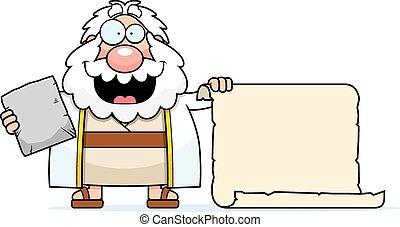 moïse, dessin animé, rouleau