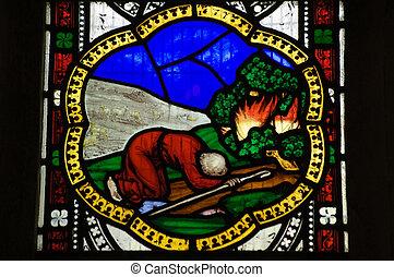 moïse, fenêtre verre souillée