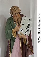 moïse, tenue, dix commandements