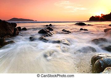 moře, a, balvan, v, ta, sunset., druh, composition.