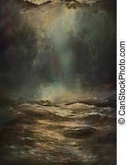 moře, a, nebe, grafické pozadí